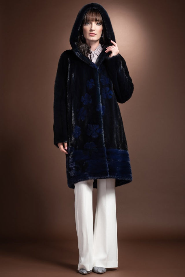Zandra Rhodes Hooded Two Blue Horizontal Hem and Daisy Mid Length Mink Fur Coat