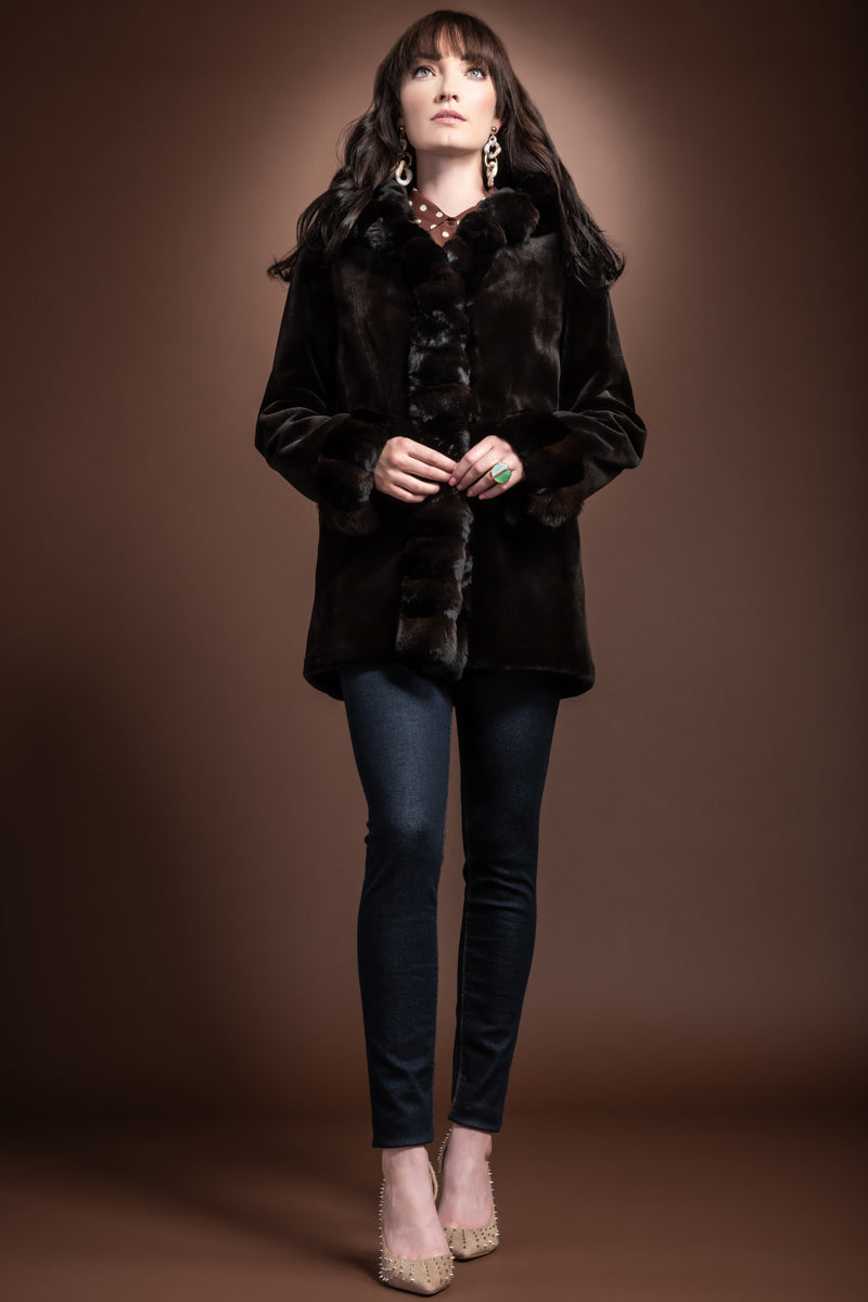 Brown EM-EL Hooded Reversible Sheared Mink and Chinchilla Fur Jacket