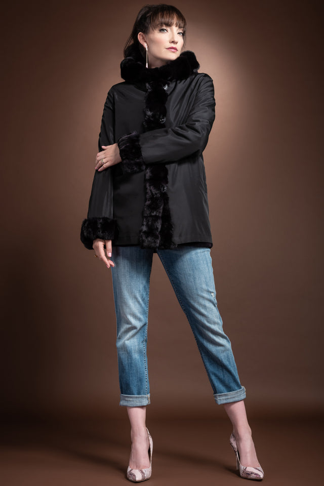 Hooded Reversible Sheared Mink and Chinchilla Fur Jacket