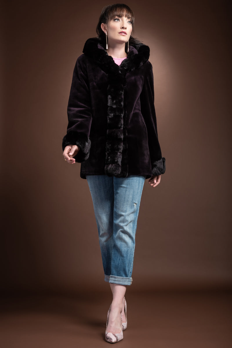 Burgundy EM-EL Hooded Reversible Sheared Mink and Chinchilla Fur Jacket