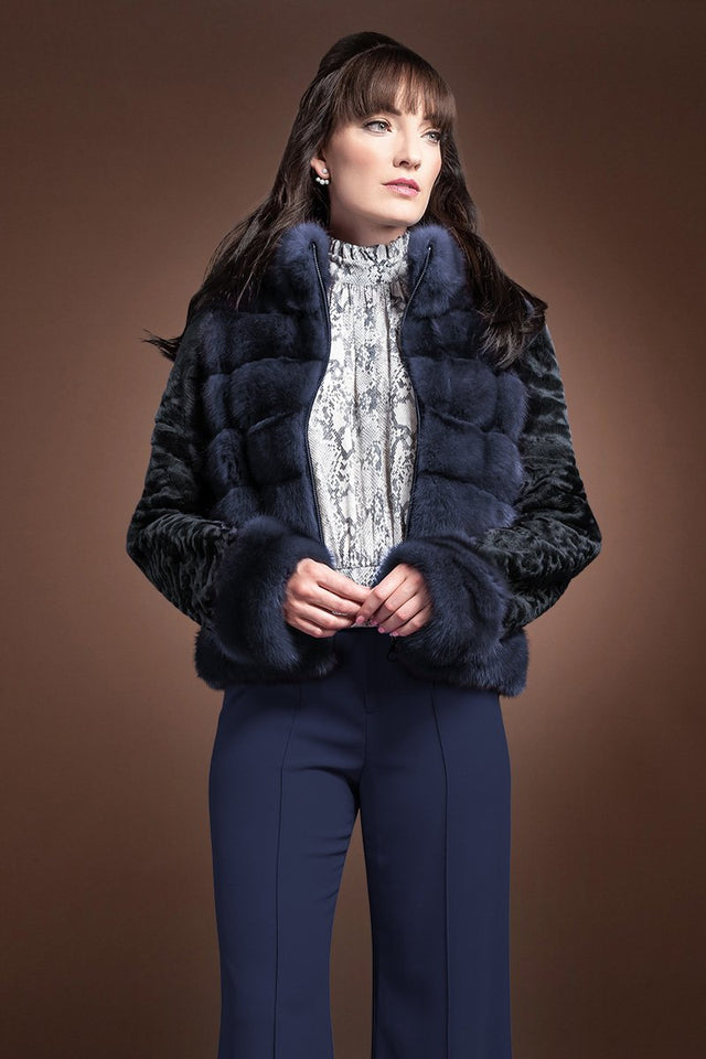 Horizontal Zip Up Sable and Karakul Fur Jacket