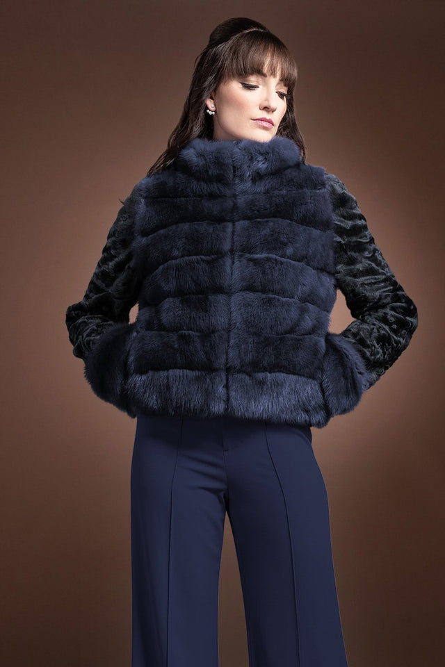 NavyBlue EM-EL Horizontal Zip Up Sable and Karakul Fur Jacket