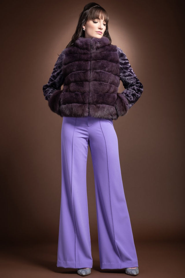 Horizontal Zip Up Purple Sable and Karakul Fur Jacket