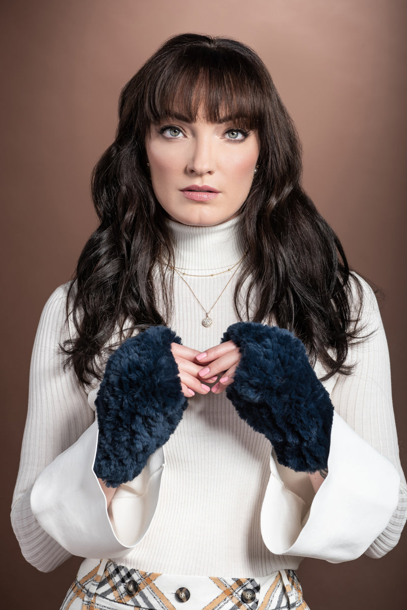NavyBlue EM-EL Knitted Fingerless Rex Rabbit Fur Gloves