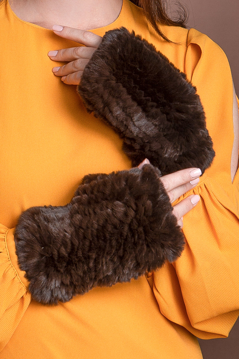 Brown EM-EL Knitted Fingerless Rex Rabbit Fur Gloves