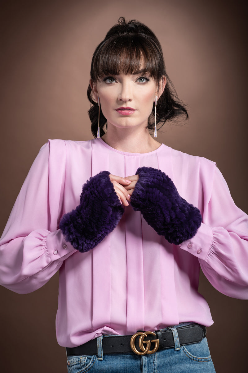 Purple EM-EL Knitted Fingerless Rex Rabbit Fur Gloves