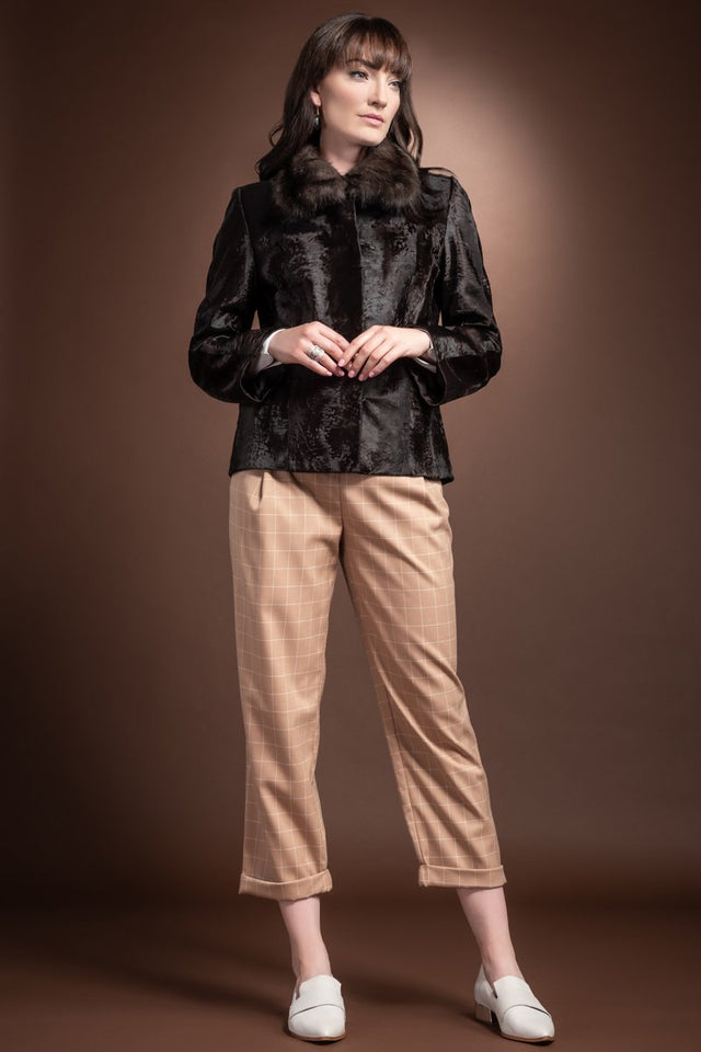 Brown Broadtail Fur Jacket - Sable Wing Collar