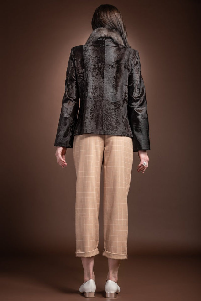 EM-EL Brown Broadtail Fur Jacket - Sable Wing Collar