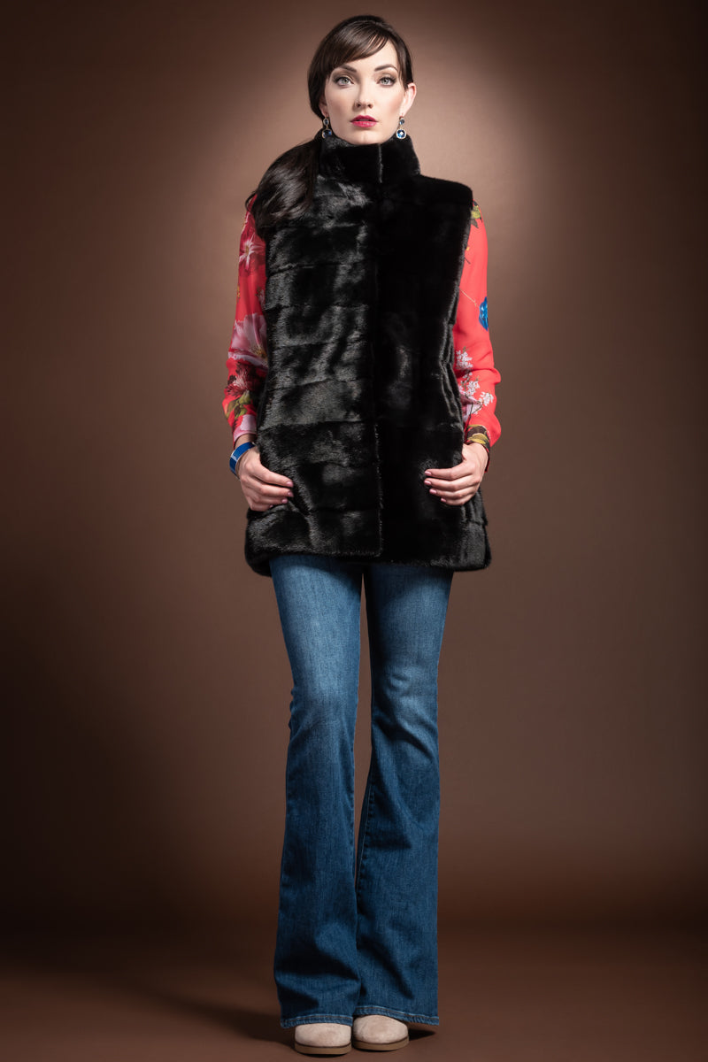 ranch CHALUE Horizontal Mink Fur Vest - Stand-Up Collar