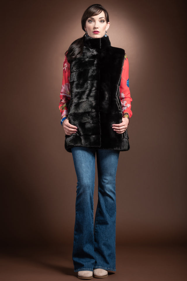 Horizontal Mink Fur Vest - Stand-Up Collar