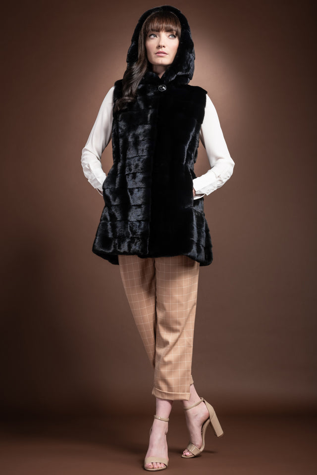 American Horizontal Hooded Mink Fur Vest