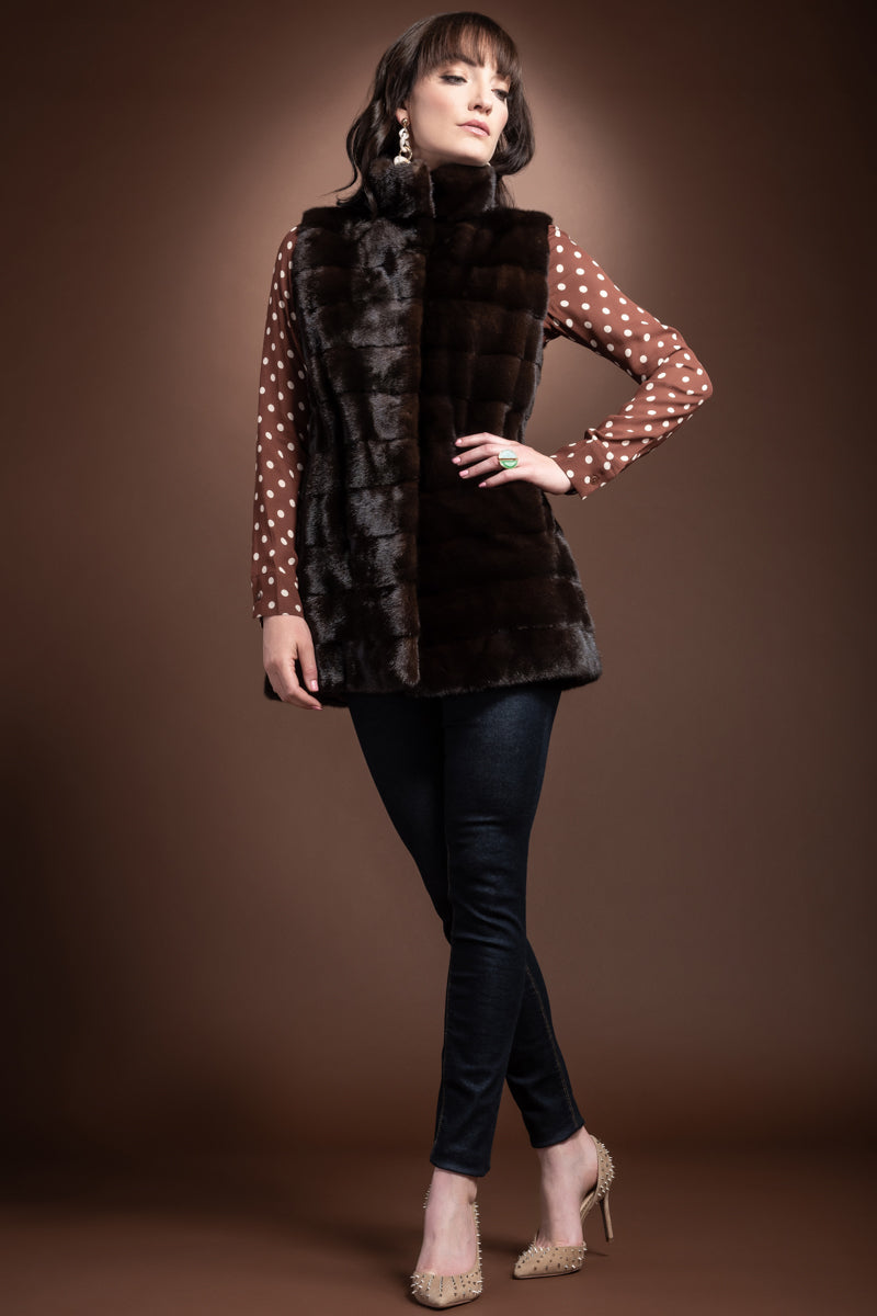 mahogany CHALUE Horizontal Mink Fur Vest - Stand-Up Collar