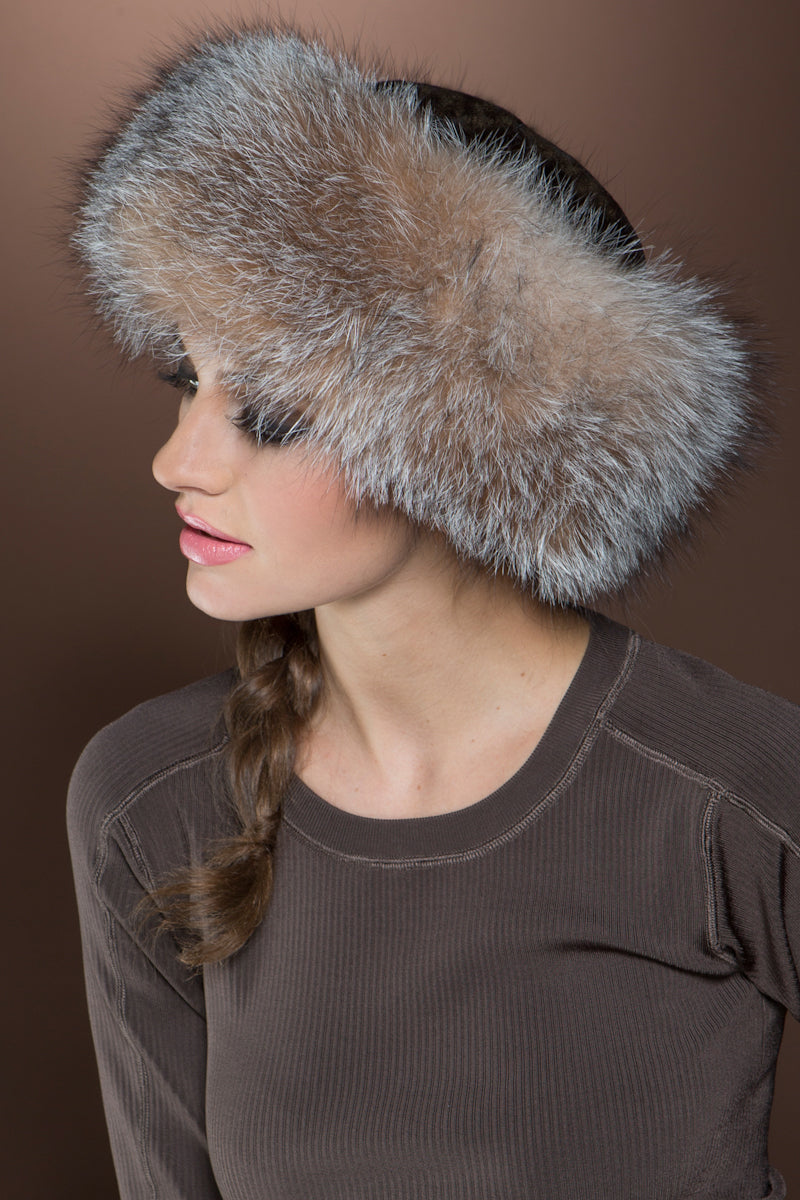 Brown Lenore Marshall Cashmere Knit and Fox Fur Brim Hat