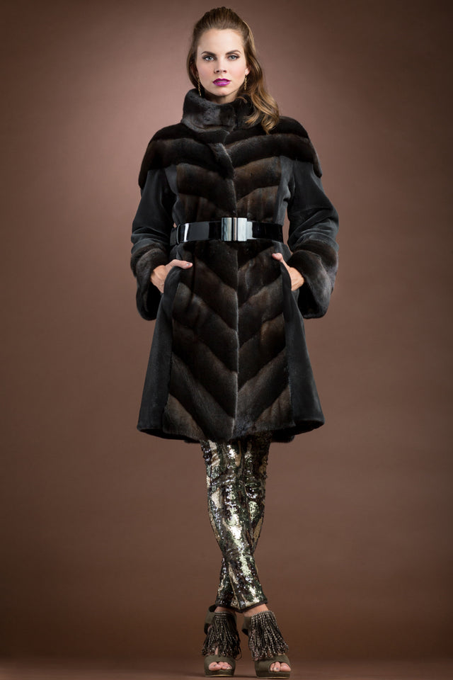 Directional Dyed Sheared and Cross Mink Mid-Length Fur Coat