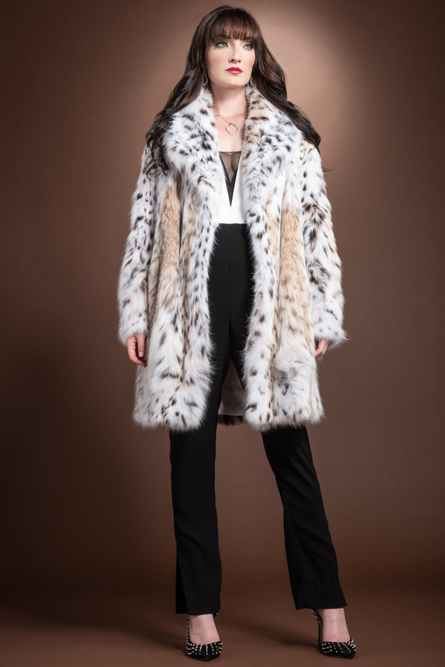 American Semi-Belly Mid-Length Lynx Fur Coat