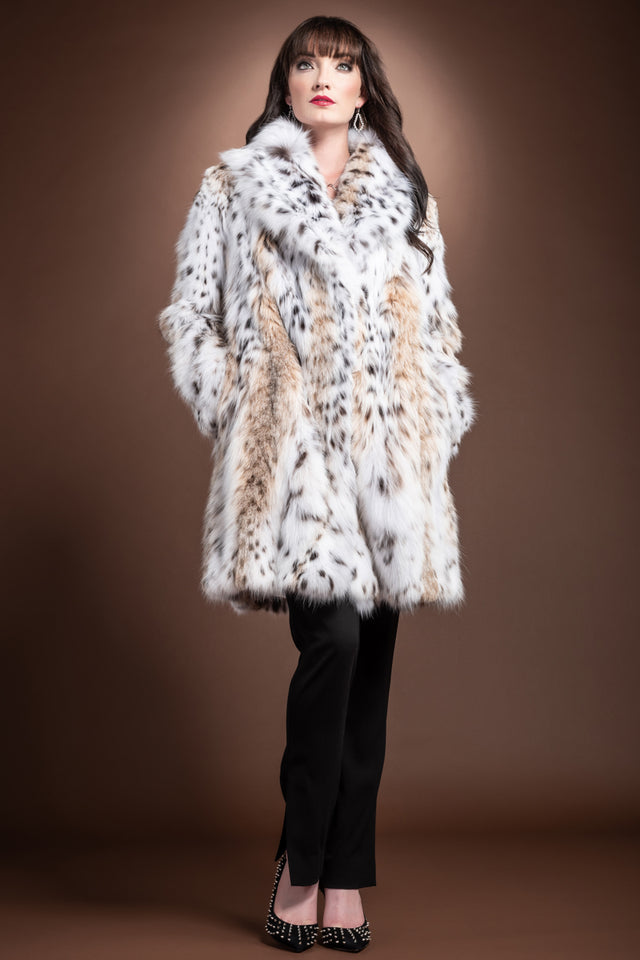 NaturalMulti Zandra Rhodes American Lynx Semi-Belly Mid-Length Fur Coat