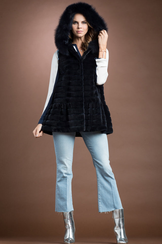 Navy Sheared and Grooved Mink Horizontal Fur Vest - Navy Fox Trim