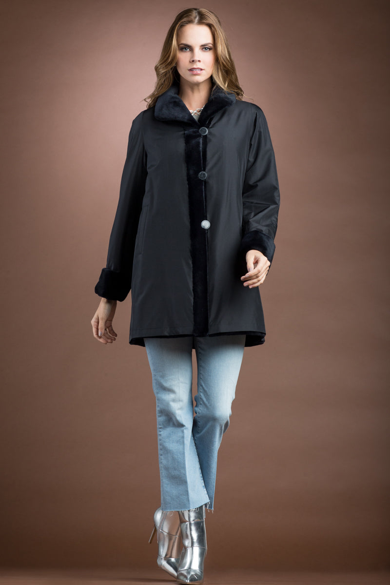 Black EM-EL Reversible Sheared Mink Mid-Length Fur Coat - Wing Collar - TB Cuff