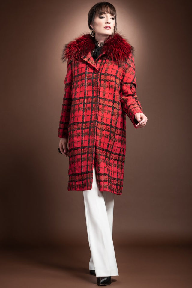 EM-EL Red Tweed Convertible Mid Length Mink Lined Fur Coat - Bright Red Silver Fox Fur Collar