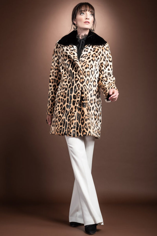 Funny Girl Leopard Print Mid Length Kidskin Fur Coat - Removeable Mink Wing Collar