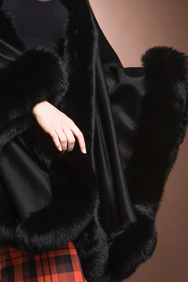 Black EM-EL Cashmere Cape with Fox Fur Trim