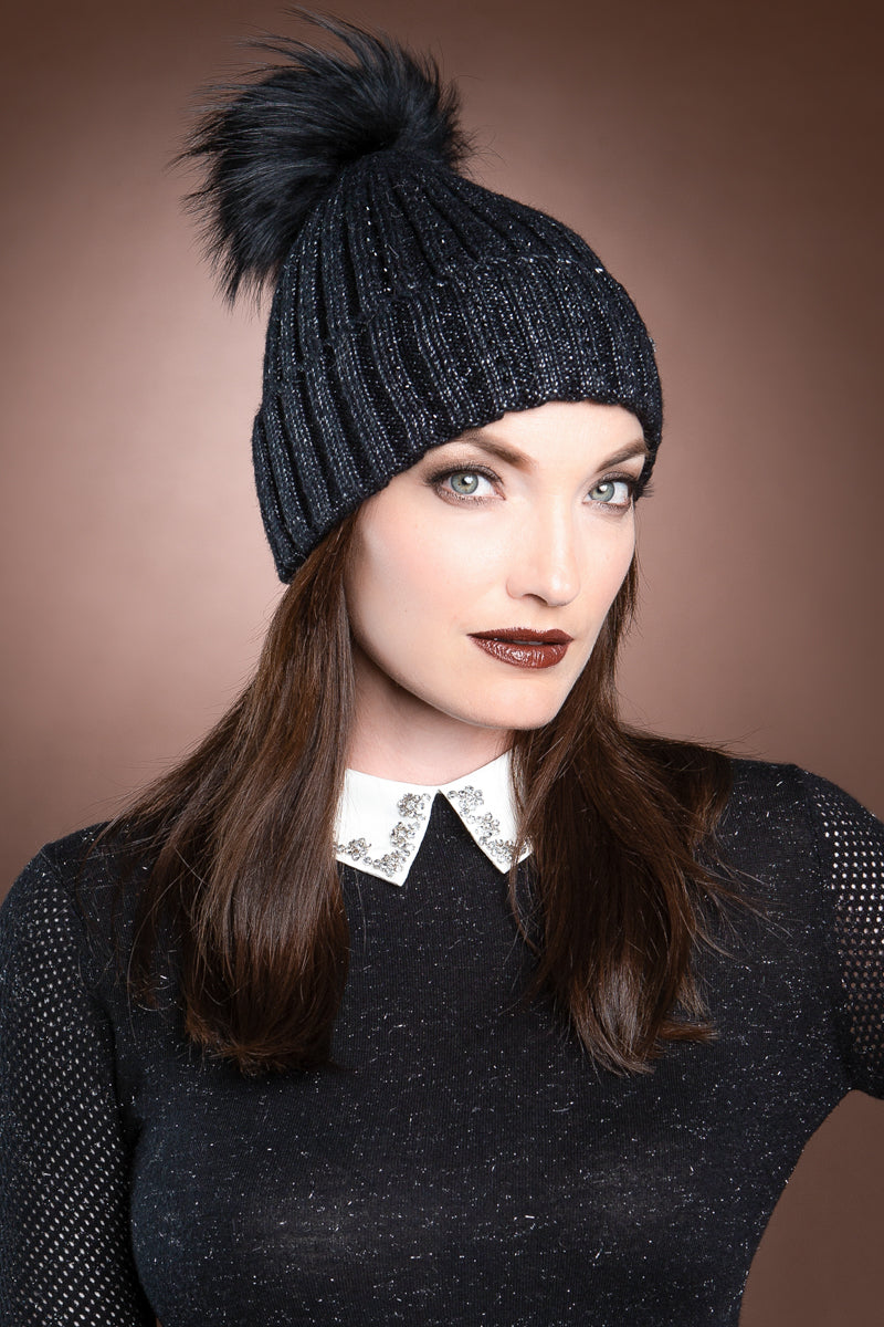 black EM-EL Serena Wool Hat with Detachable Fox Fur Pompom