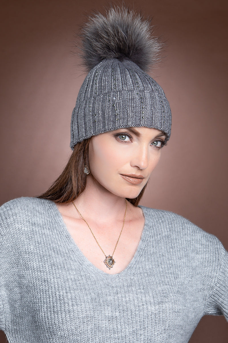 gray EM-EL Serena Wool Hat with Detachable Fox Fur Pompom