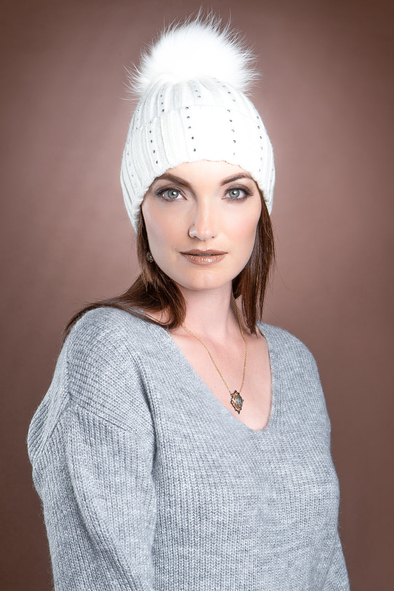 white EM-EL Serena Wool Hat with Detachable Fox Fur Pompom