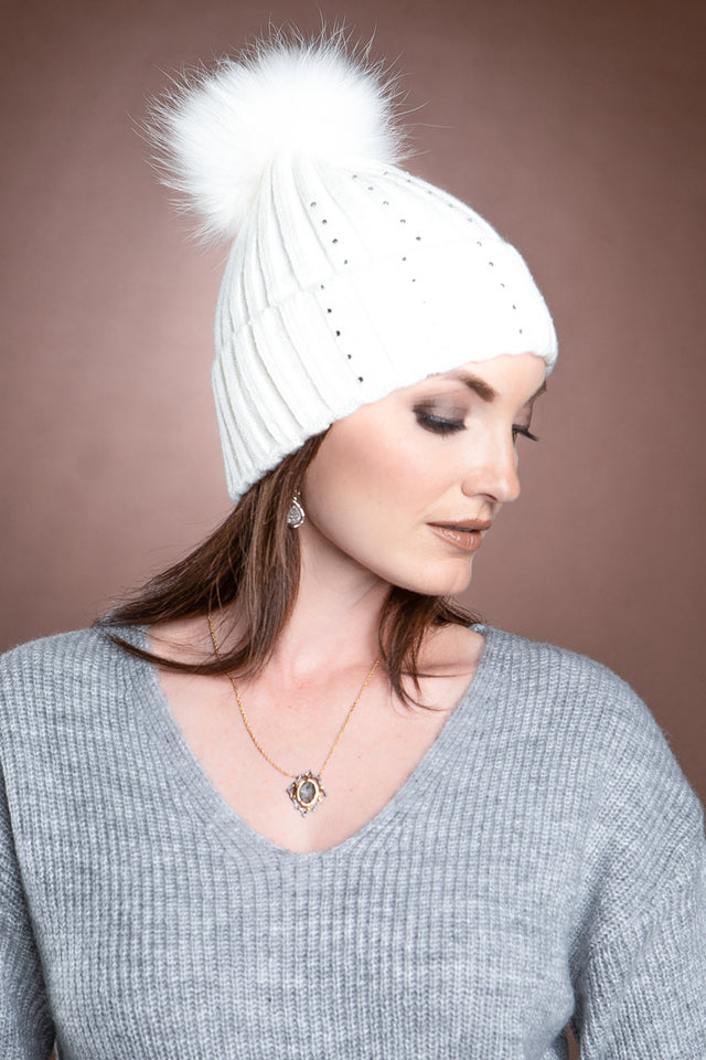 Serena Wool Hat with Detachable Fox Fur Pompom
