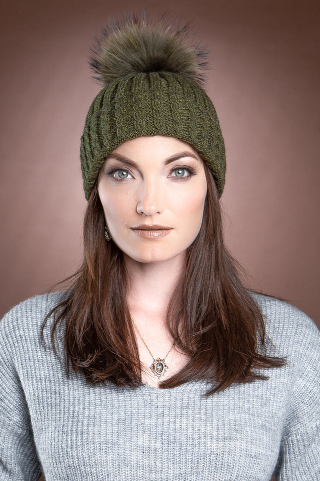 Olive Green EM-EL Greta Wool Hat with Detachable Fox Fur Pompom
