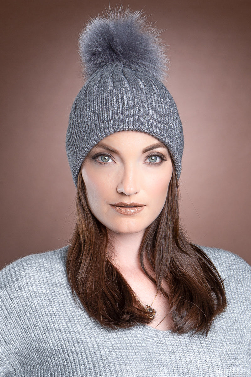 Charcoal EM-EL Bella Knit Hat with Detachable Dyed to Match Fox Fur Pom