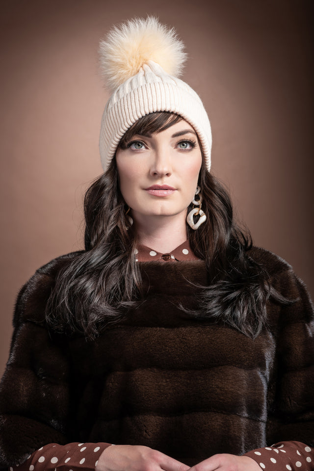 Bella Knit Hat with Detachable Dyed to Match Fox Fur Pom