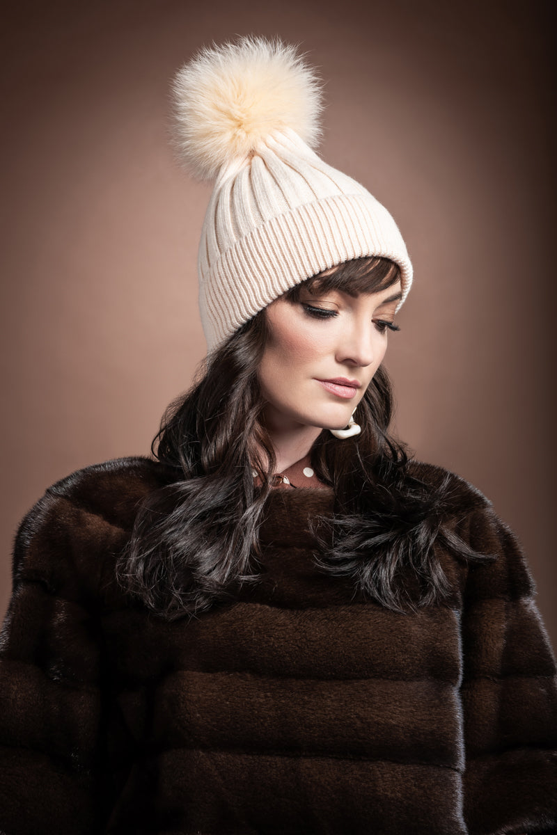 Ivory EM-EL Bella Knit Hat with Detachable Dyed to Match Fox Fur Pom