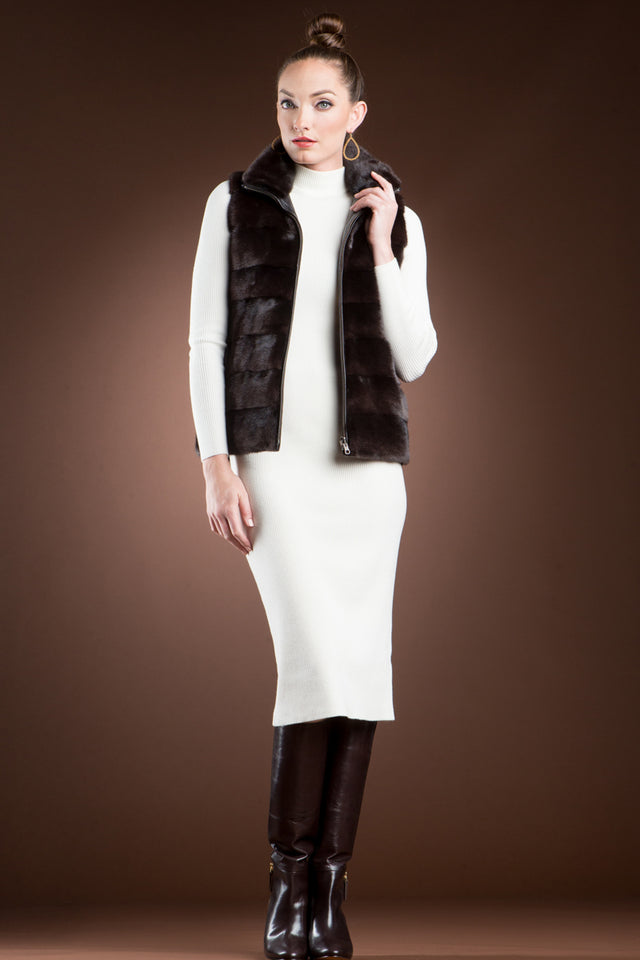 EM-EL Reversible to Leather Chestnut Mink Fur Vest