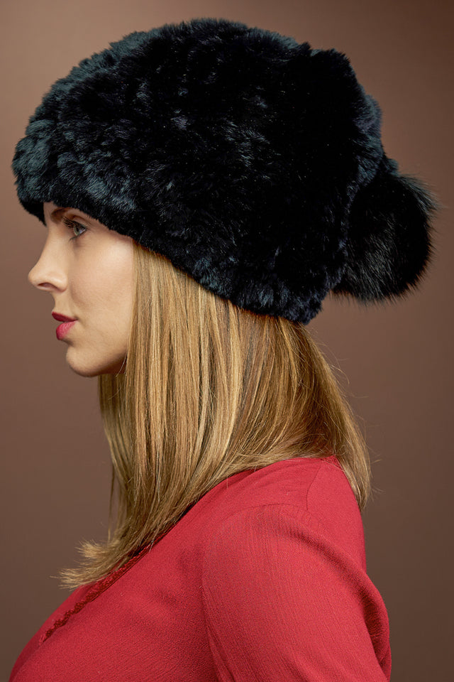 Black EM-EL Rex Rabbit Slouch Fur Hat