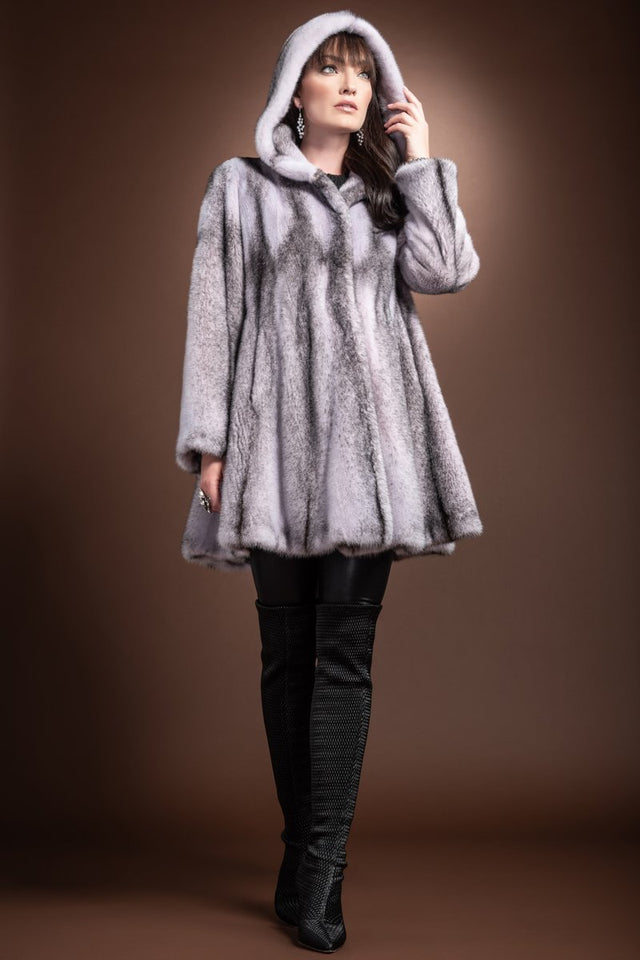 Hooded Lilac A-Line Four Flared Mid Length Cross Mink Fur Coat