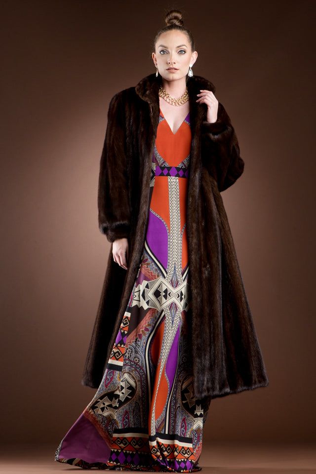 Mahogany Mink Fur Coat-Wing Collar