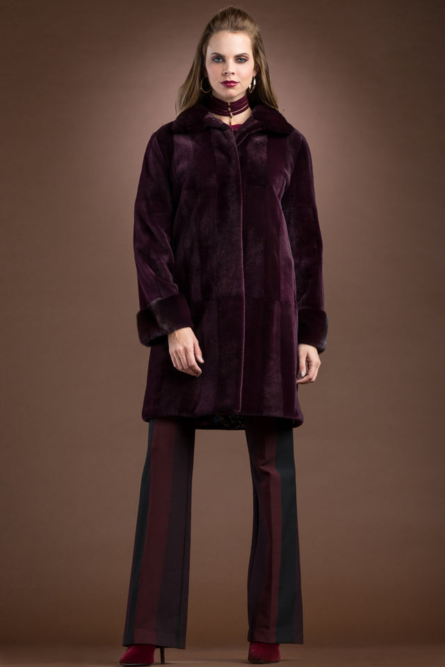 Sheared & Long Haired Mink Mid-Length Fur Coat - Brick Pattern