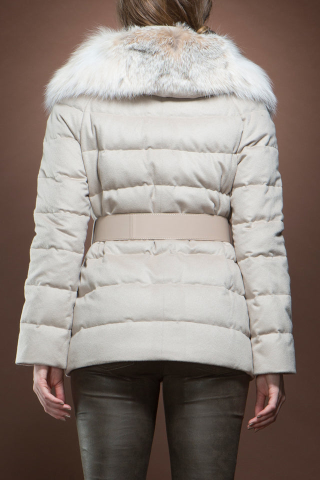 Beige Cashmere and Lynx Down Jacket