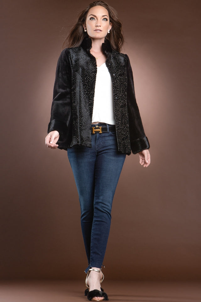 Black Laser Calf, Sheared & Long Haired Mink Fur Jacket