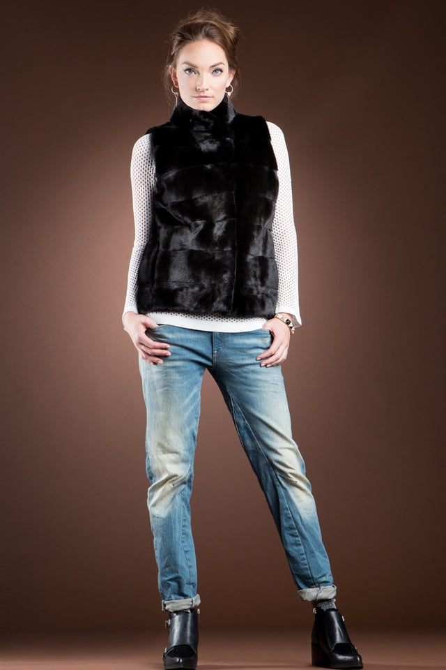 Blackglama Horizontal Mink Fur Vest - Stand-Up Collar