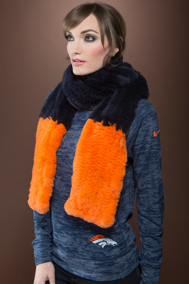 Colorblock Bronco Navy and Neon Orange Fur Scarf