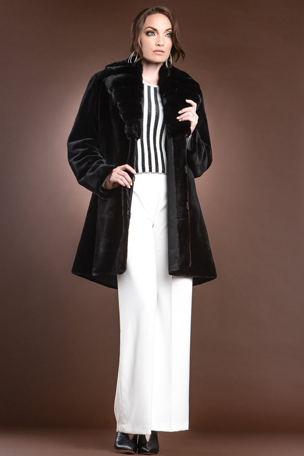 Reversible Fitted Sheared Mid Length Mink Fur Coat - Chinchilla Shawl Collar