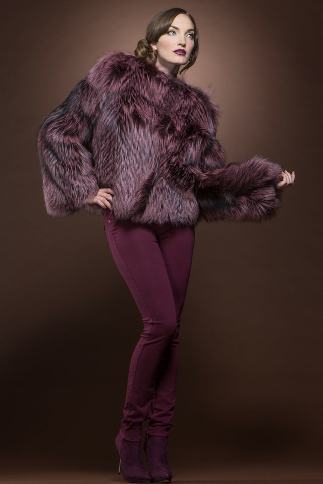 Raspberry Fox Fur Bolero
