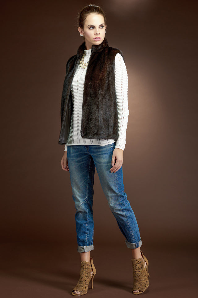 Reversible to Leather Mink Zipper Fur Vest