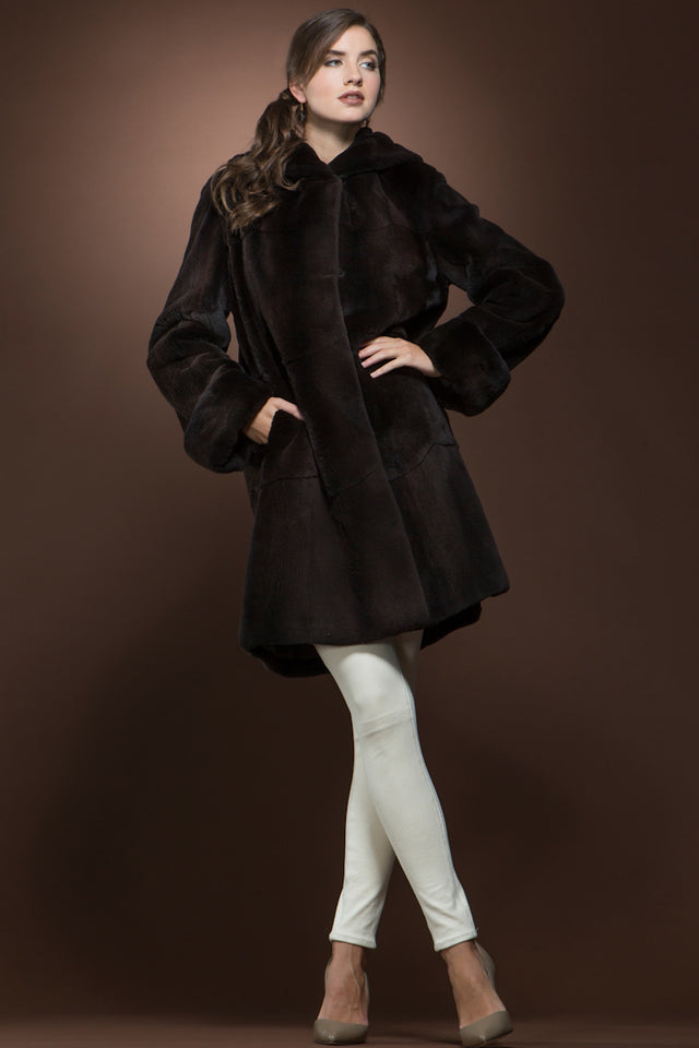 Hooded Espresso Plucked Mink Mid-Length Fur Coat