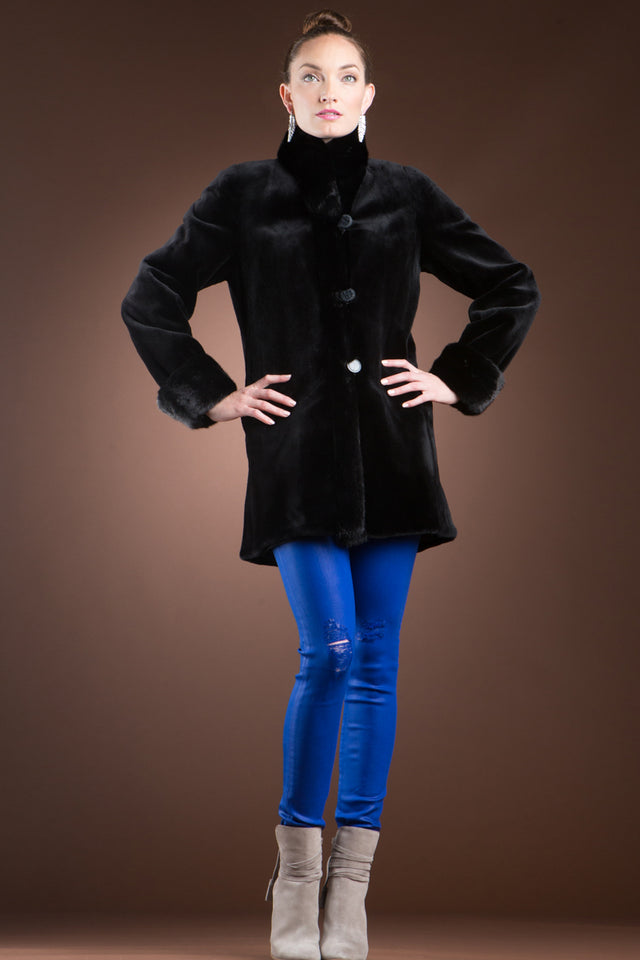 Reversible Sheared & Long Haired Mink Fur Jacket