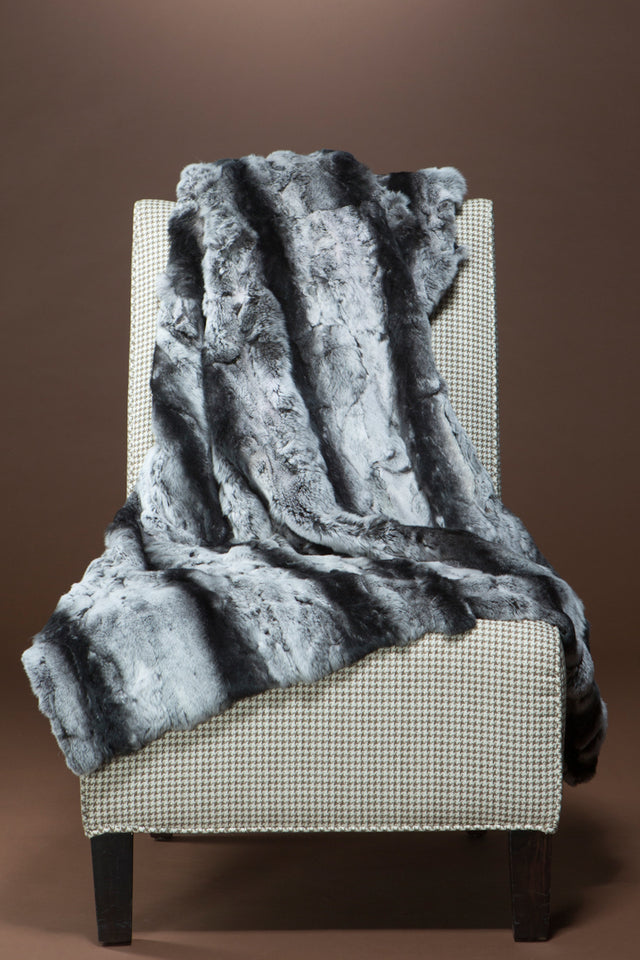 Chinchilla Rex Rabbit Fur Throw