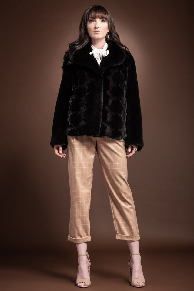 Blackglama Mink and Sheared Mink Floral Cutout Fur Jacket