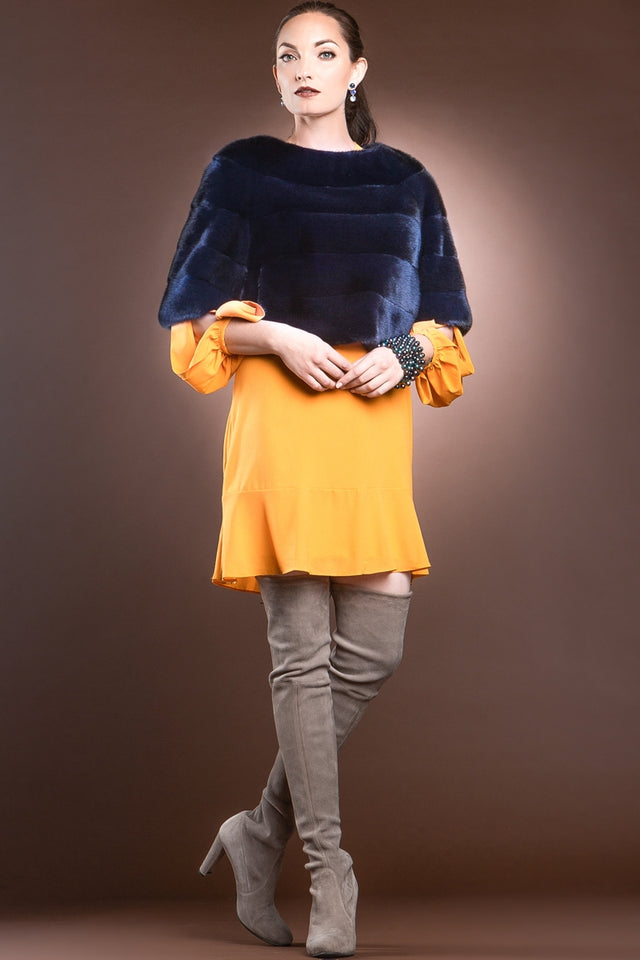 Horizontal Solid Color Mink Fur Pull - Over - Side Zipper